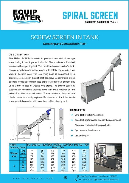 SPIRAL SCREEN is useful to pre-treat any kind of sewage water being it municipal or industrial. Following the application, there are two different versions: screw screen directly installed in the channel or screw screen supplied complete with tank, with liquid inlet and outlet flanges and, at request, with lateral by-pass screen. For both models, you can choose the version with or without compacting zone. The main advantages of these models of machines are mainly the low cost of initial investment and the subsequent little maintenance required.
