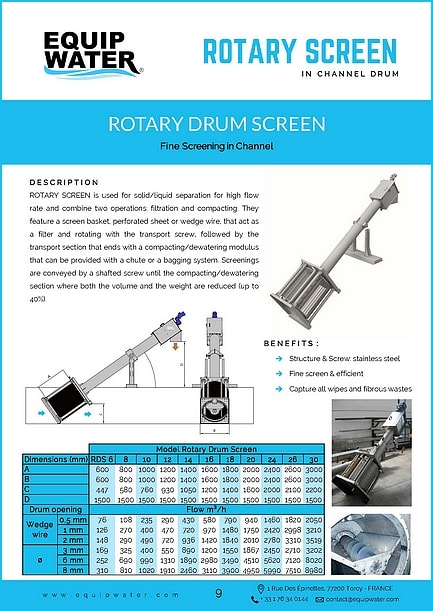 ROTARY SCREEN is used for solid/liquid separation for high flow rate and combine two operations: filtration and compacting. They feature a screen basket, perforated sheet or wedge wire, that act as a filter and rotating with the transport screw, followed by the transport section that ends with a compacting/dewatering modulus that can be provided with a chute or a bagging system. Screenings are conveyed by a shafted screw until the compacting/dewatering section where both the volume and the weight are reduced (up to 40%).