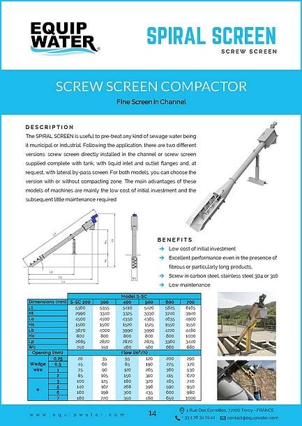 datasheet vertical screw screen equipwater