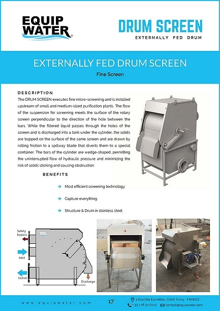 The DRUM SCREEN executes fine micro-screening and is installed upstream of small and medium-sized purification plants. The flow of the suspension for screening meets the surface of the rotary screen perpendicular to the direction of the hole between the bars. While the filtered liquid passes through the holes of the screen and is discharged into a tank under the cylinder, the solids are trapped on the surface of the same screen and are drawn by rolling friction to a spillway blade that diverts them to a special container. The bars of the cylinder are wedge-shaped, permitting the uninterrupted flow of hydraulic pressure and minimizing the risk of solids sticking and causing obstruction.