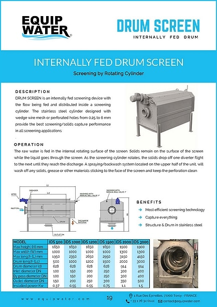 DRUM SCREEN is an internally fed screening device with the flow being fed and distributed inside a screening cylinder. The stainless steel cylinder designed with wedge wire mesh or perforated holes from 0,25 to 6 mm provide the best screening/solids capture performance in all screening applications. The raw water is fed in the internal rotating surface of the screen. Solids remain on the surface of the screen while the liquid goes through the screen. As the screening cylinder rotates, the solids drop off one diverter flight to the next until they reach the discharge. A spraying/backwash system located on the upper half of the unit, will wash off any solids, grease or other materials sticking to the face of the screen and keep the perforation clean.