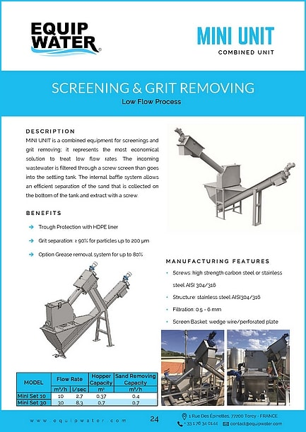 MINI UNIT is a combined equipment for screenings and grit removing; it represents the most economical solution to treat low flow rates. The incoming wastewater is filtered through a screw screen than goes into the settling tank. The internal baffle system allows an efficient separation of the sand that is collected on the bottom of the tank and extract with a screw.