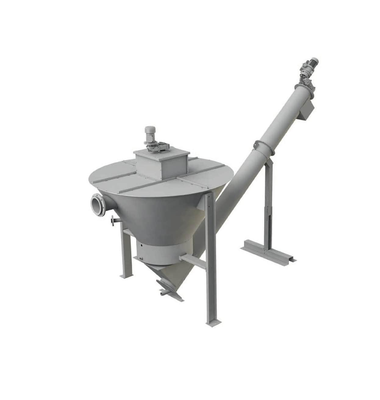 EQUIP GRIT est utilisé pour la séparation et le nettoyage des sables des eaux usées. Cet équipement est constitué d'une trémie de décantation conique munie d'un système d'agitation qui donne aux eaux usées sableuses un mouvement de rotation. Cette rotation facilite le processus de sédimentation tout en maintenant en suspension les matières organiques. Le fond de la trémie est alimenté en eau propre et crée un contre-courant qui pousse les matières organiques afin d'être évacuée par un tuyau placé sur la partie supérieure de la trémie.Les sables lavés sont soutirés du fond de la trémie par un convoyeur à vis sans fin pendant que le volume d'eau est maintenu en mouvement par l'agitateur central.