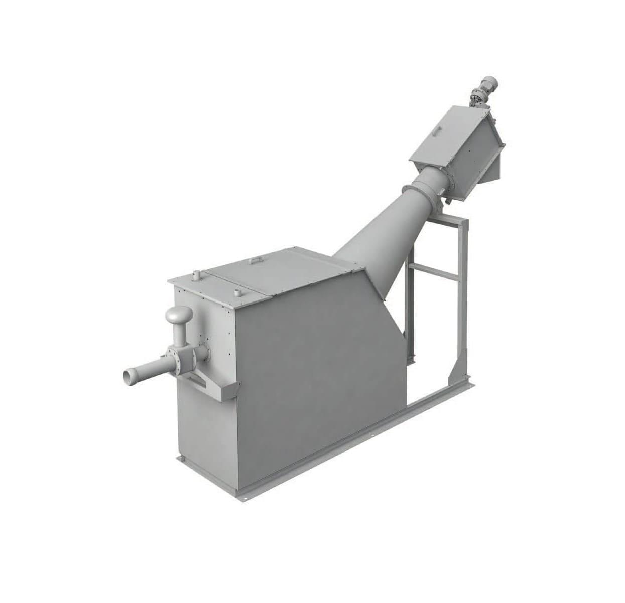 EQUIP SEP est une machine utilisée pour prétraiter les eaux des égouts et des eaux usées industrielles transportées par un camion de curage, qui doivent être traitées avant d'être renvoyé vers la station d'épuration. L'équipement reçoit les eaux directement du camion au moyen d'un raccord rapide de type DN Perrot. Les effluents passent à travers un tamis perforé afin d'éliminer tous les solides en suspension. L'ensemble des déchets filtrés sont ensuite convoyés par la vis jusqu'à la zone de lavage et compactage.
