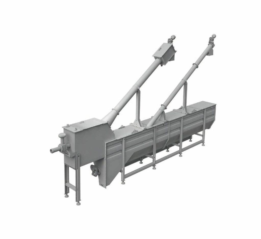 Les LARGE UNIT sont des classificateurs à sable avec trémies longitudinales qui séparent le sable par simple gravité et grâce au mouvement tourbillonnant créé par un souffleur qui sépare le sable des matières organiques. Le sable se retrouve sur la vis d'Archimède pour être transporté dans un réservoir de collecte. L'huile et la graisse est aussi mise en suspension pendant le processus. Un extracteur incliné (type tamis élévateur) ramasse et évacue les sables. Le système d'élimination des graisses est constitué d'une série de plaques déplacées par une chaîne qui racle l'eau et amène la graisse dans une trémie. L'eau riche en matière organique sort de la machine par débordement.